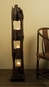 Shira Leah - Recycled wood fence post candle stand #32-20-001 :  home accessory home deco wood recycled