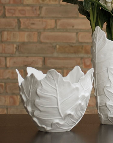 Shira Leah - Philodendron bowl/cachepot #36-14-003 :  home accessory home deco white porcelain